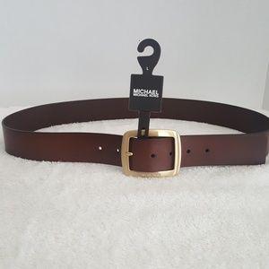 New Michael Kors Brown Leather Belt